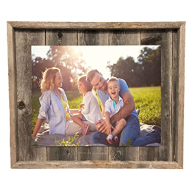 BarnwoodUSA Rustic Farmhouse Plank Picture Frame - Our 11x14 Picture Frame can be Mounted Horizontally or Vertically and is Crafted from 100% Recycled and Reclaimed Wood | No Assembly Required