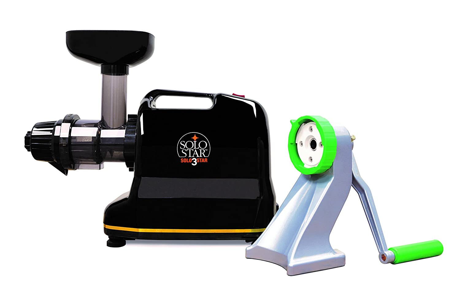 Tribest Solostar 3C SS-91113C-B Horizontal Single Auger Slow Masticating Juicer with Manual Conversion Kit, Black