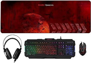 Mars Gaming MCPRGB - Pack RGB de teclado, ratón, auriculares y alfombrilla