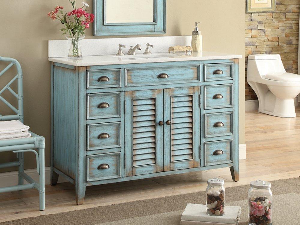 Amazon.com: 46u201d Cottage Look Abbeville Bathroom Sink Vanity Model  CF28885BU: Kitchen U0026 Dining