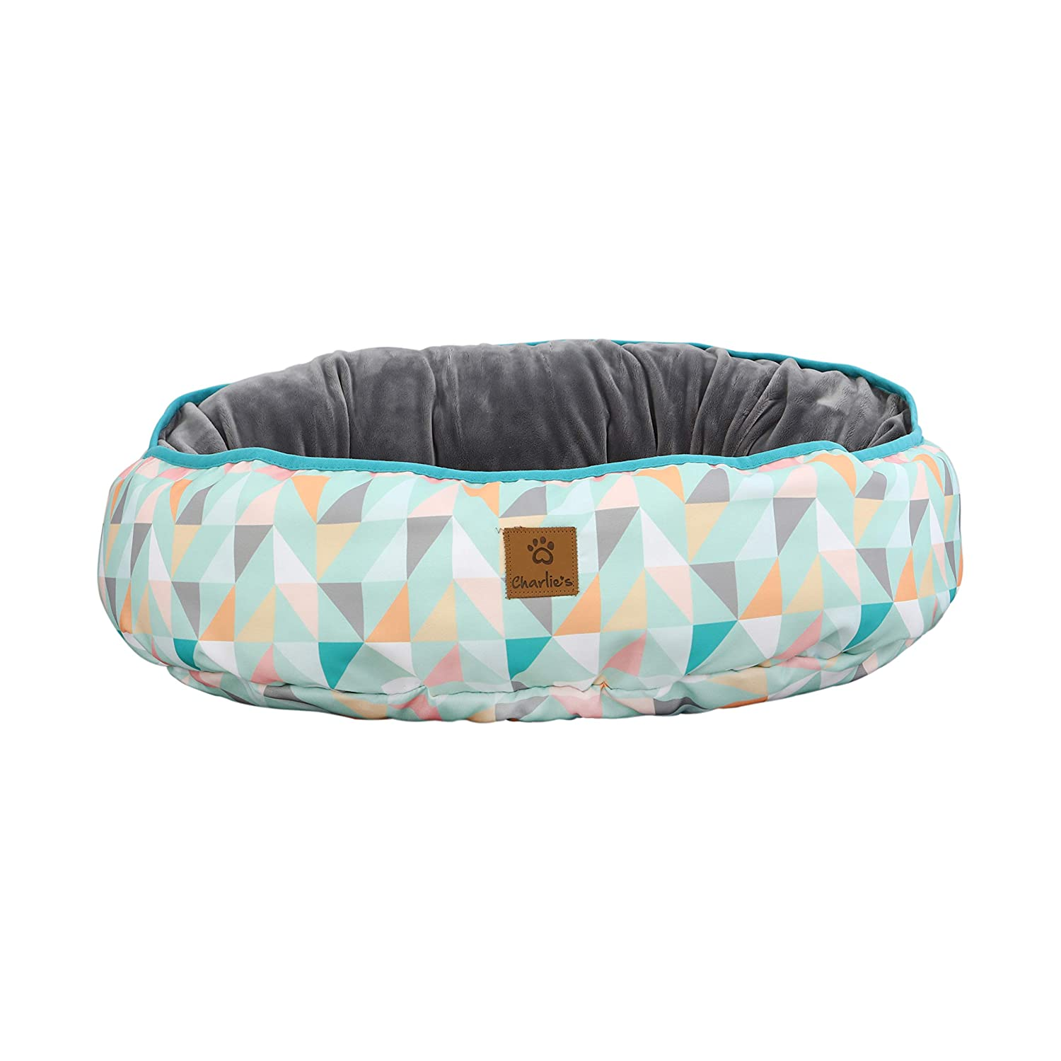 Charlie's Pet Bed for Dogs and Cats of All Sizes Reversible Fun Oval Pad Green Triangle MEDIUM-65 x 74 x 15cm