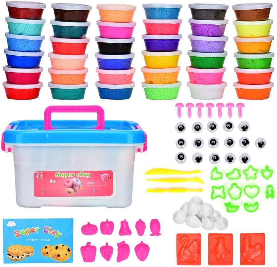 Arcilla Seca al Aire 36 Colores Cozywind DIY Slime Kit para Niños No Tóxico Arcilla Ultra Ligero Regalo Creativo Educativo Juguete,Incluido Moldes, Accesorios,Herramientas.