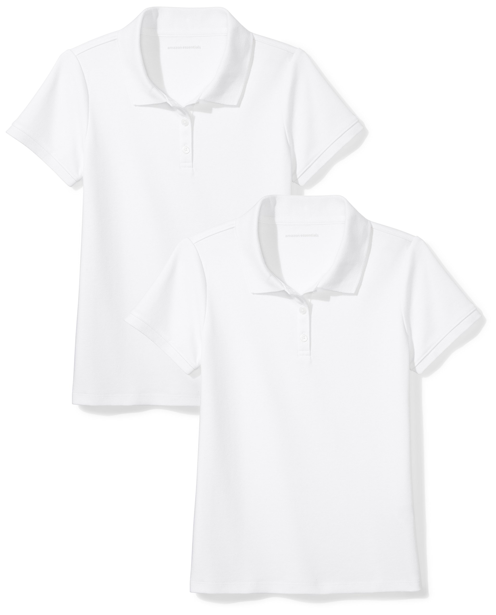 Amazon Essentials Girls' Uniform 2-Pack Interlock Polo, White/White, S (6-7)