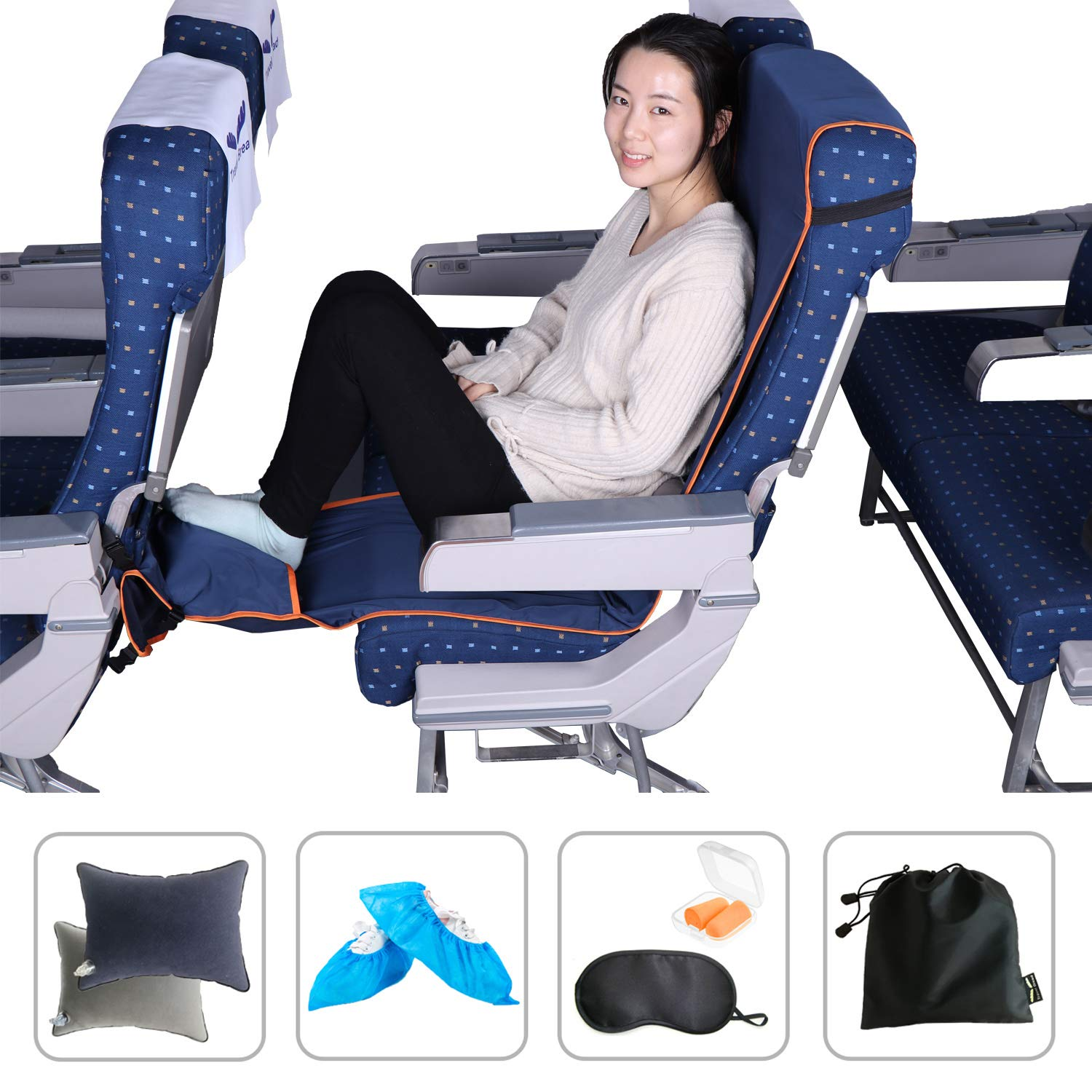 Travel Bread Airplane Footrest Hammock, Portable Travel Footrest with Inflatable Pillows, 3-Level Adjustable Height Foot Rest Hammock Flight Carry-On Foot Rest Provides Relaxation and Comfort (Blue)
