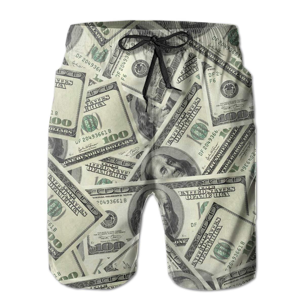9b2091c37e Amazon.com: SUMERCL Money Mens Swim Trunks Summer Quick Dry Board Shorts  Elastic Waist Swimwear Bathing Suit with Mesh Lining/Side Pockets White:  Clothing
