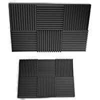 "Siless 12 pack Acoustic Panels 1"" X 12"" X 12"" – Acoustic Foam - Studio Foam Wedges - High Density Panels – Soundproof Wedges (Gray)"