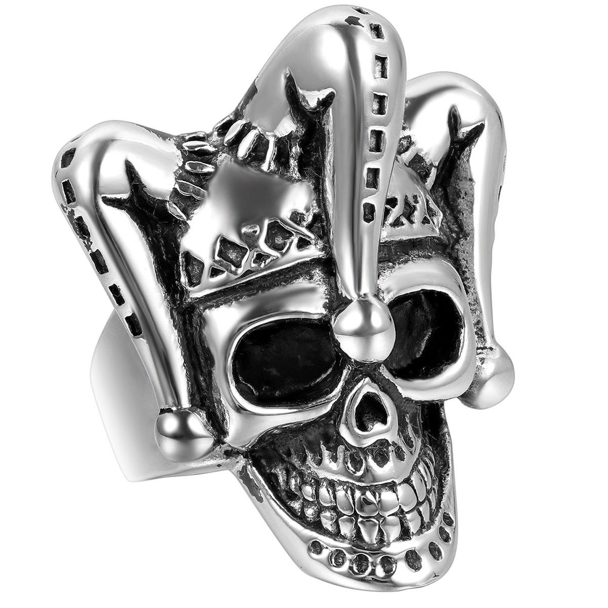 Jewelrywe Gioielli Anello da Uomo, Anelli, Gotico Joker Cranio Teschio, Acciaio Inossidabile, Nero Argento (con Borsa Regalo) JWP39011130