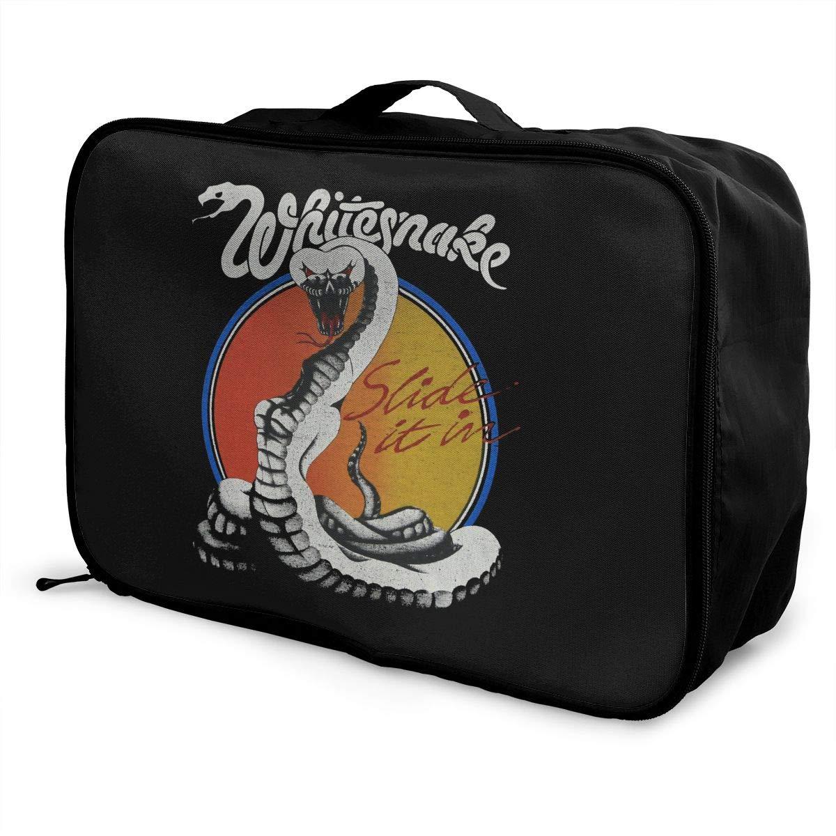Fretlo Whitesnake-Slide-It-In-Tour-Concert Travel Duffel Bag Waterproof Lightweight Large Capacity Portable Luggage Bag Black