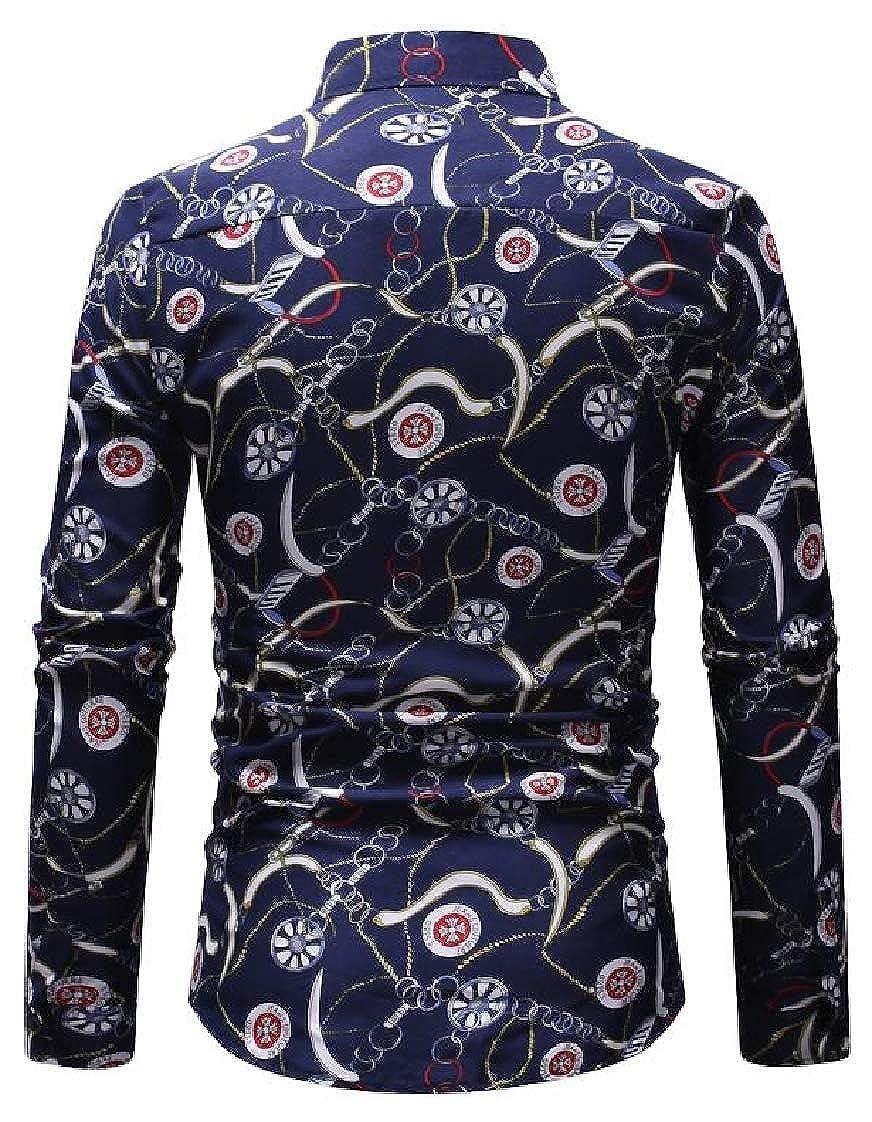 Pandapang Mens Printed Button Front Turn Down Collar Long Sleeve Casual Shirts