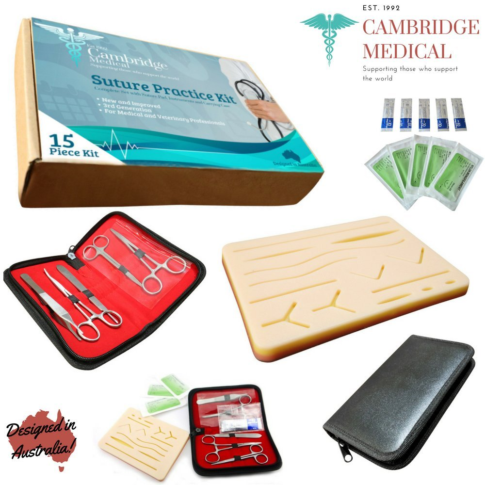 Cambridge Medical - New 3rd Generation Complete Suture Practice Kit for Doctors, Nurses, Dentists, Veterinarians & Students (Large and Multi Use Durable Silicon Suture Pad and Surgical Instruments)
