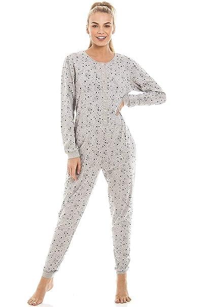 Camille Pijama de una Pieza para Mujer Estampado de Estrellas - Gris: Amazon.es: Ropa y accesorios