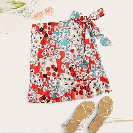Shenye - Falda corta para mujer, diseño de flores beige rojo S ...