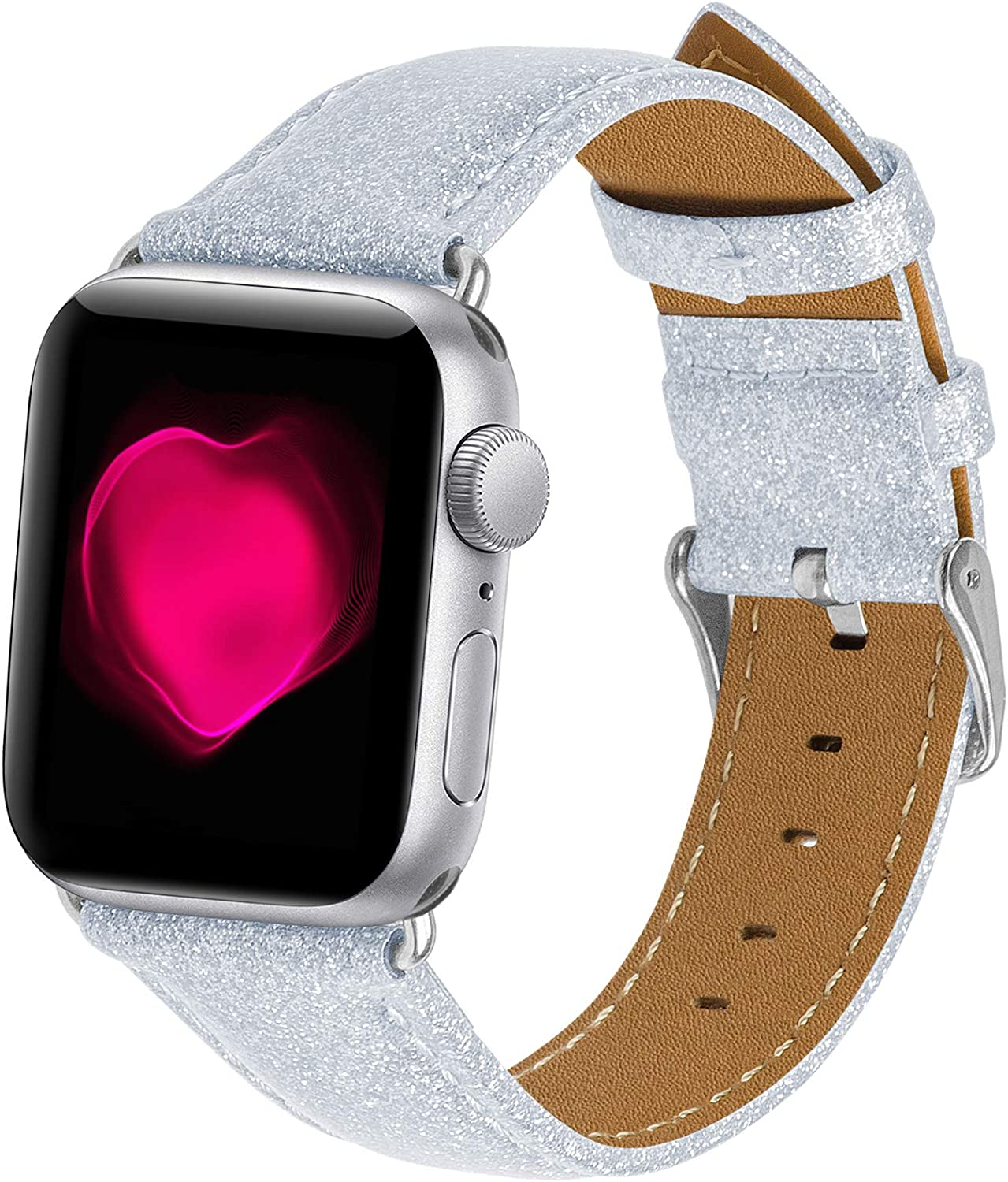OMECKY Bling Watch Strap Compatible with Glitter iWatch Bands Series 6 / 5 / 4, SE (40mm) Series 3 / 2 / 1 (38mm), Silver