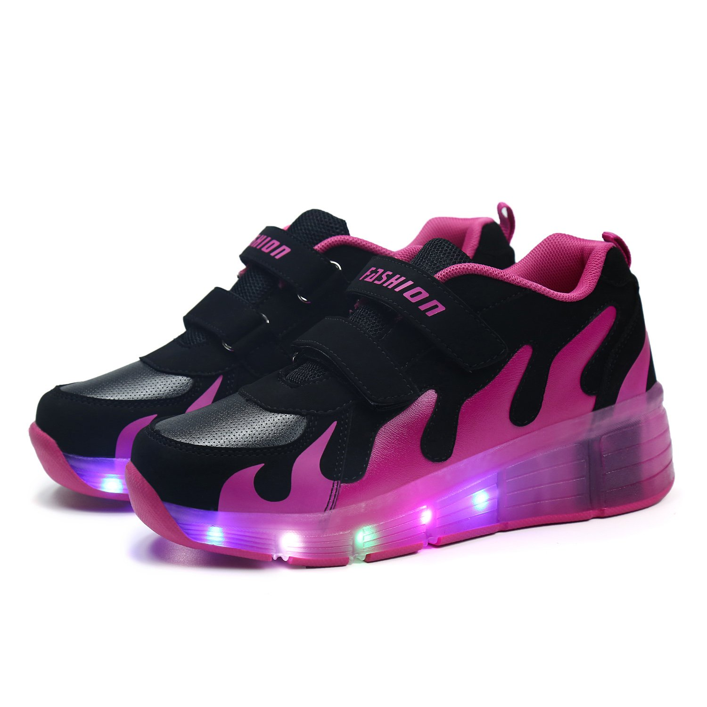 SGoodshoes Niños Zapatillas con Ruedas LED Sola Ronda Para Skate Zapatos Deportivas con Luces Niñas Zapatos con Ruedas Led Mujer: Amazon.es: Zapatos y ...