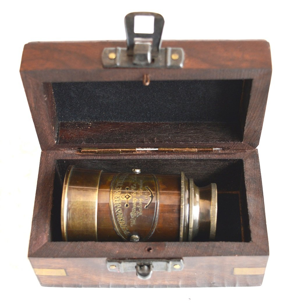 SA International Brass Antique Finish 6'''' Victorian Marine Handheld Mini Telescope with Wooden Box Nautical Gift by SA International (Image #4)