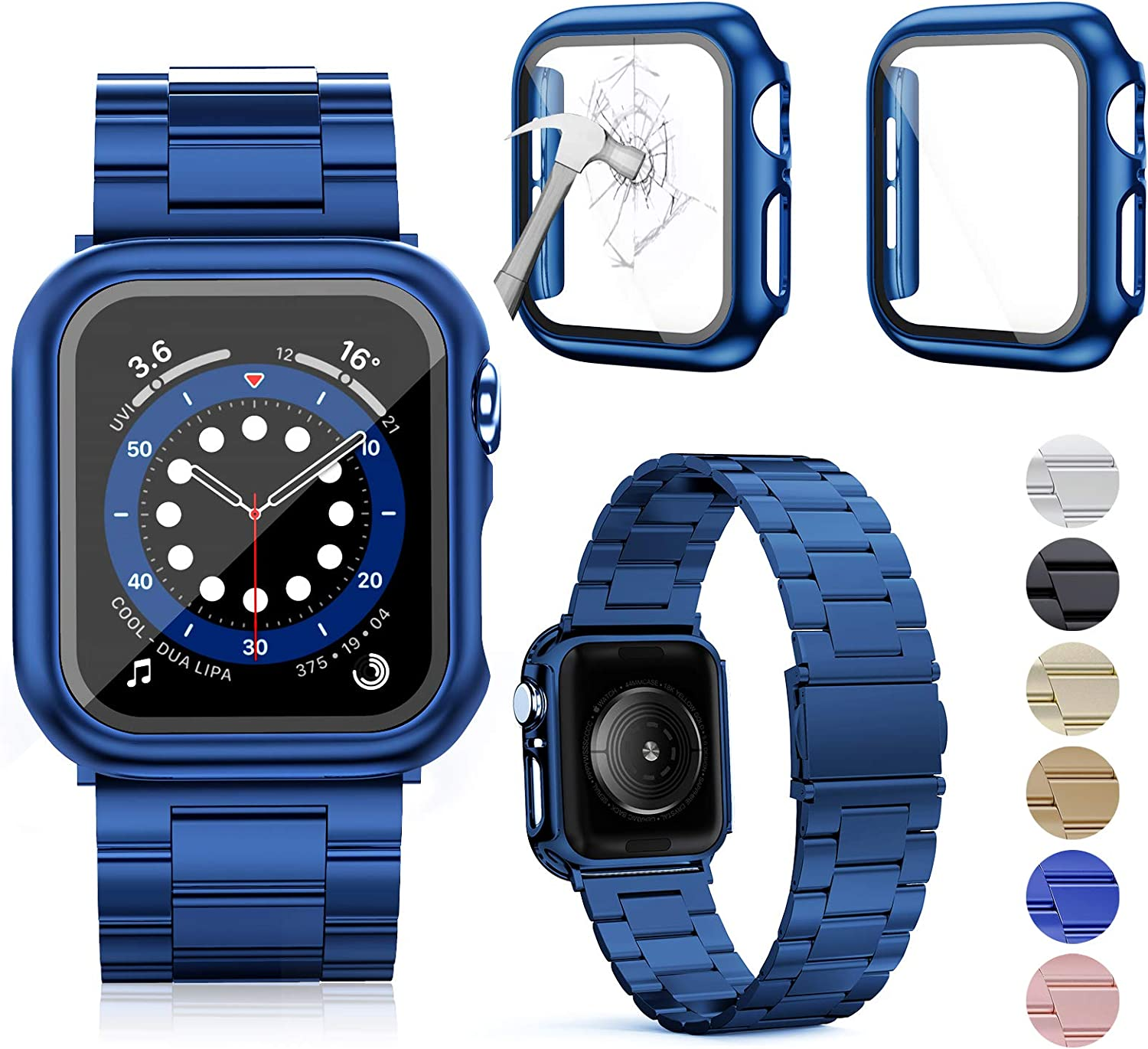 OMEE Compatible with Apple Watch Band 38mm/40mm/42mm/44mm with 2Pcs Case, Stainless Steel Metal Bands Business Replacement iWatch Strap for Apple Watch Series 6/5/4/3/2/1/SE