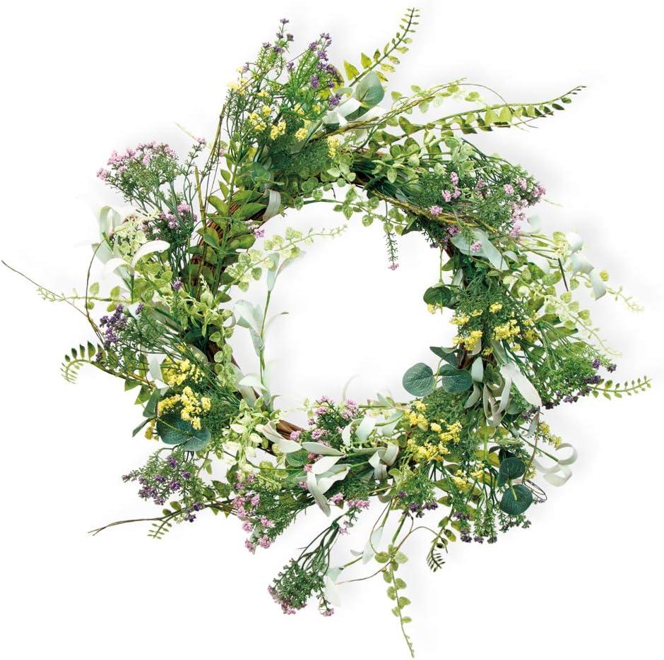 Amazon Com Boston International Spring Summer Decorative Wreath 20 Inches Field Flowers Home Kitchen