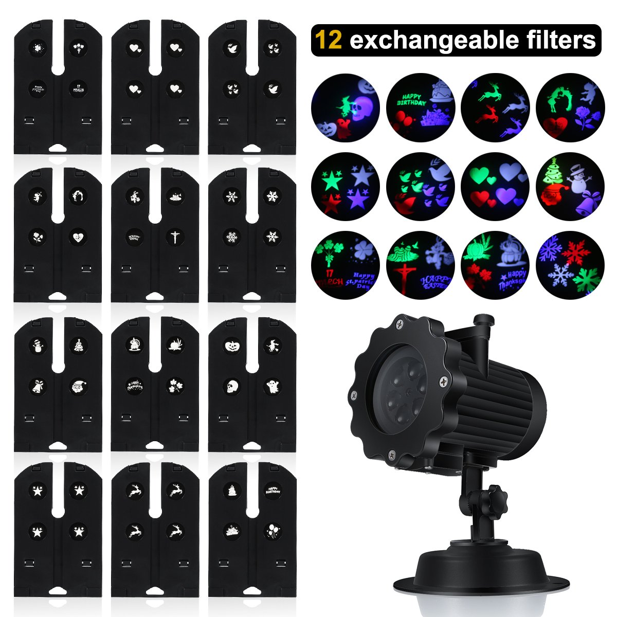 colorful Switchable Slide Garden LED Light Projector S/&G Waterproof Outdoor Indoor Landscape Projector Lamp for Christmas Party Birthday Holiday Landscape Decoration