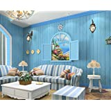 DIY 地中海風 木目 調 壁紙 貼付シールタイプ 簡単 はがせる 壁紙シール 高品質な不織布素材 防水 ベッドルーム リビングルーム 53cm×5m (スタイル2)