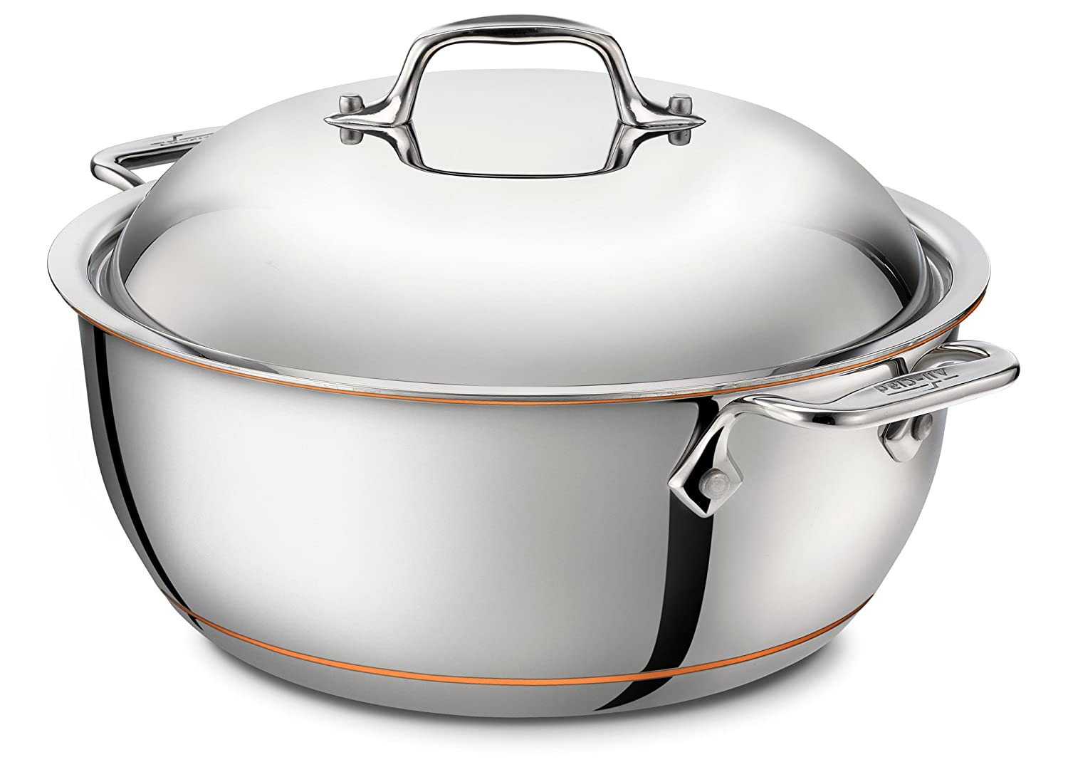 amazoncom allclad ss copper core 5ply bonded dishwasher safe dutch oven with lid cookware 55quart silver kitchen u0026 dining