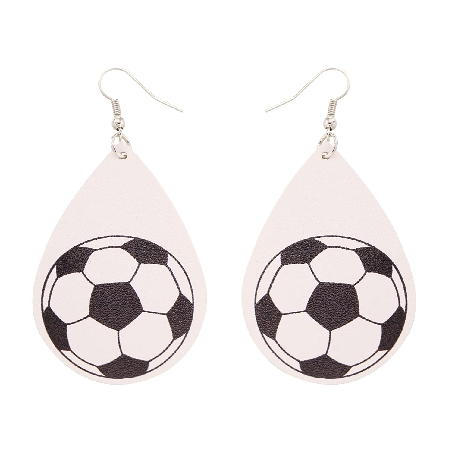 TIDOO Jewelry Womens Smooth Faux Leather Ball Printing Dangle Earrings for Girl