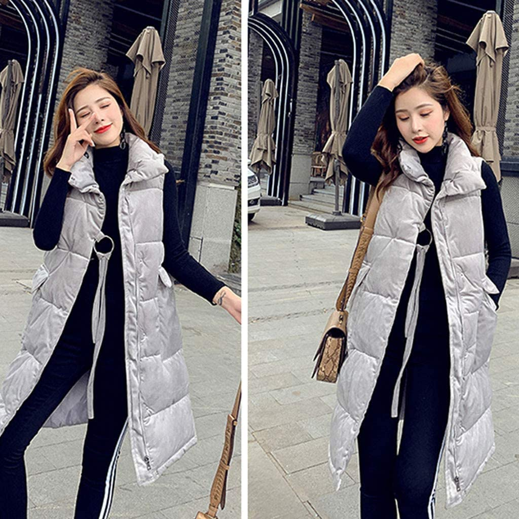 UOFOCO Winter Jackets for Women Lightweight Puffer Vest Stand Collar Quilted Jacket Padded Warm Waistcoat