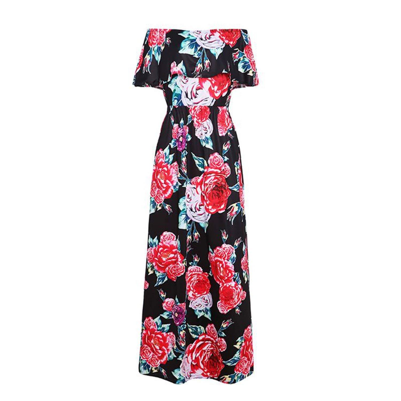 Black Medium Summer Holiday Boho Elegant Off Shoulder Floral Print Maxi Long Tunic Dress Polyester