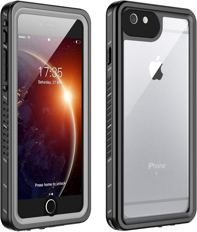 iPhone 6 Plus Waterproof Case iPhone 6s Plus Waterproof Case(5.5inch),Huakay IP68 Certified Shockproof DirtproofFull Body Protection Waterproof For iPhone 6 Plus 6s Plus (Black/Clear)