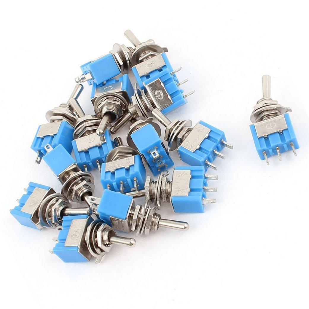 R Interruptor de palanca TOOGOO AC 125V 6A SPDT ON-ON 3 Pines Interruptor de palanca micro de enclavamiento 15pzs