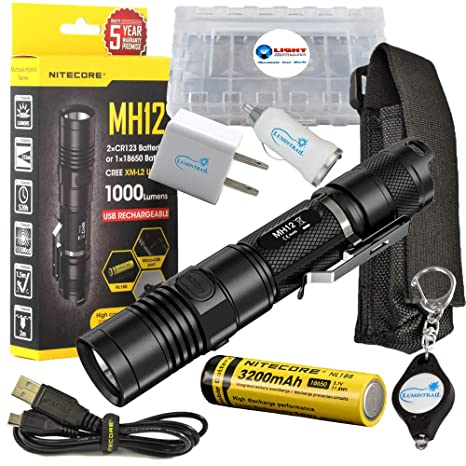 Amazon.com: Bundle: Nitecore mh12 CREE XM-L2 U2 LED con ...