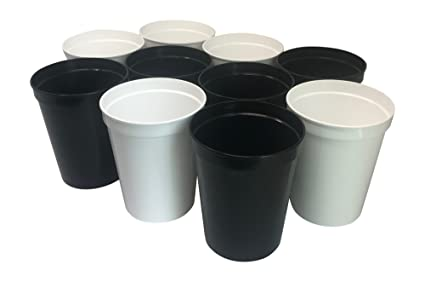 1e686ffcdc4 CSBD 10 Pack Blank 16 oz Plastic Stadium Cups Bulk Tumblers - Reusable or  Disposable, Great For Customization, Monograms, Marketing, DIY Projects, ...