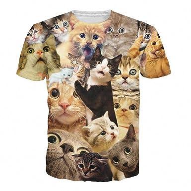 Hiuwa Unisex 3D T-Shirt Aniaml Many Funny Cats Camisetas S