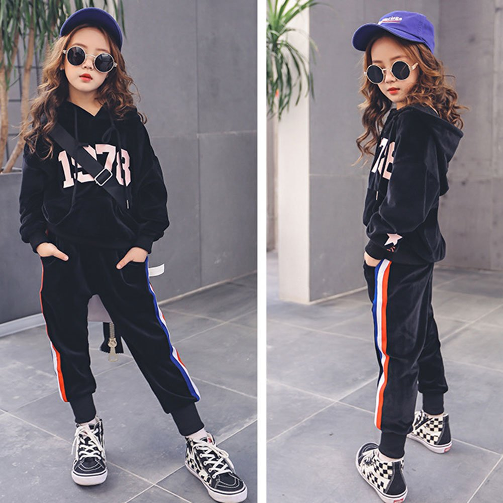 M&A Girls Casual Tracksuit Velvet Hoodie + Pants Clothing Set by M&A (Image #4)