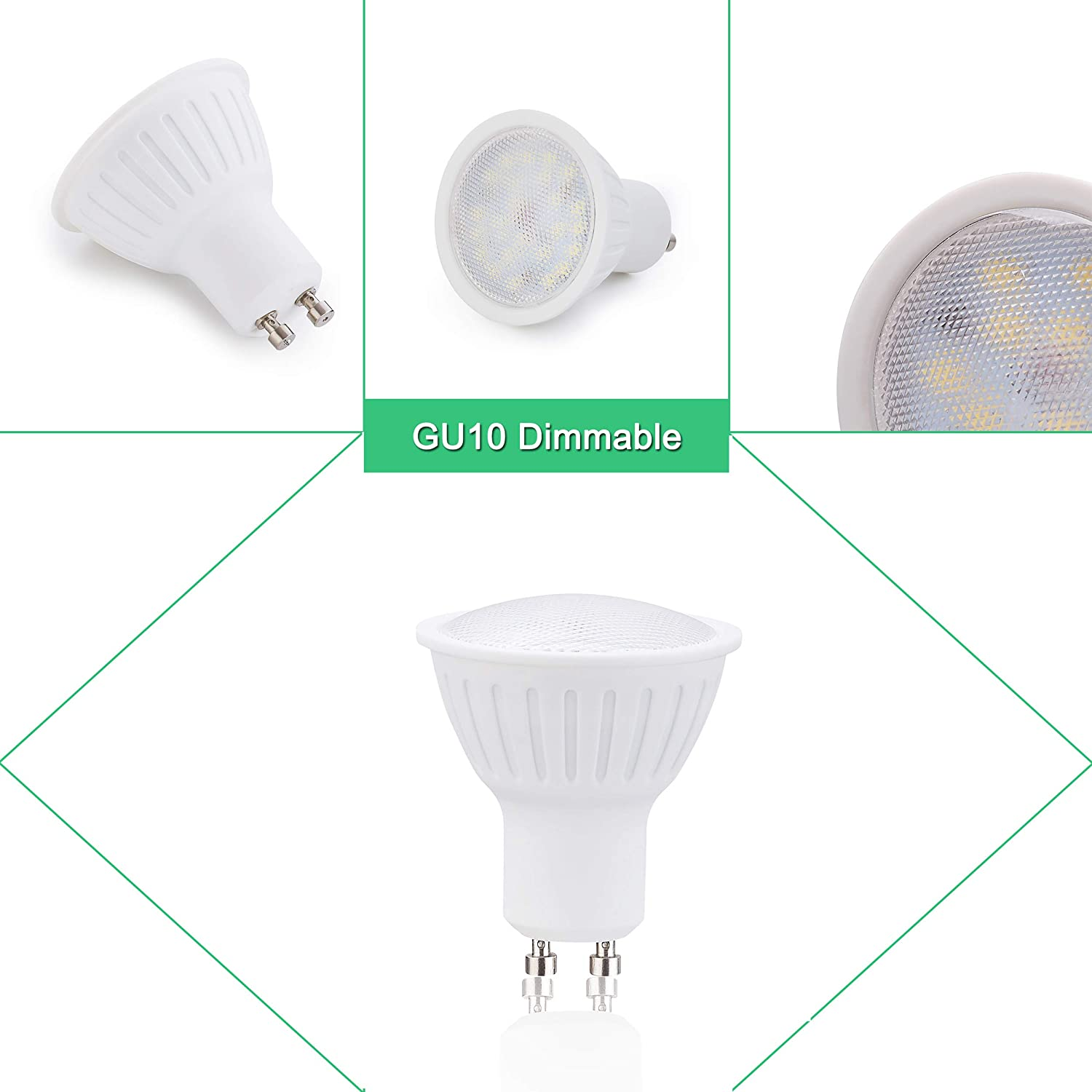 6 Pack 120° Beam Angle 3W GU10 LED Bulb 700 Lumens 30W Halogen Bulbs Replacement 5000K Daynight White CRI85+ Dimmable 120V Bombilla Light Bulb for Ceiling ...