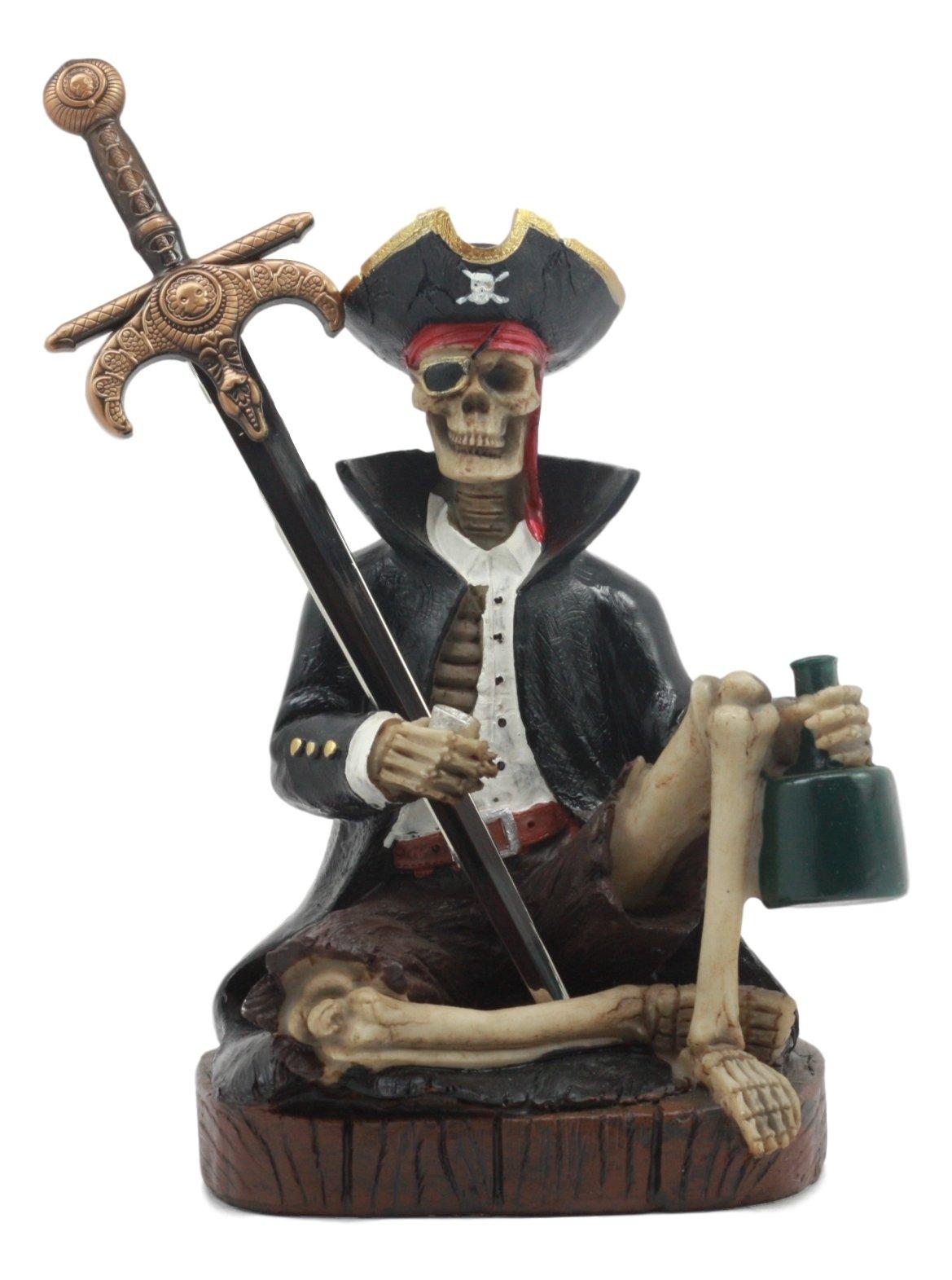 Ebros Rum Mail Pirate Captain Skeleton Letter Opener Statue Set with Dagger Knife Dead Man Tells No Tales Davy Jones Curse Office Desktop Accessory