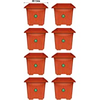 TrustBasket Set of 8 Square UV Treated,Hevy Duty Plastic Planter 12 inch