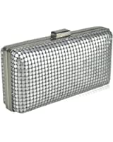Elegant Mesh Covered Structured Hard Case Evening Clutch in Black and Silver