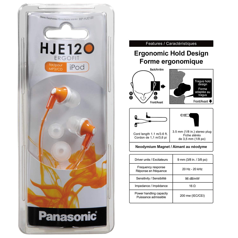 Panasonic ErgoFit InEar Earbud Headphones RPHJE120D Orange Dynamic Crystal Clear Sound Ergonomic