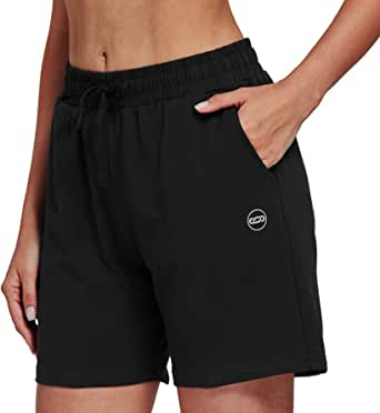 "Jimilaka Women's 5"" Lounge Bermuda Shorts Workout Activewear Jogger Jersey Yoga Short with Pockets"