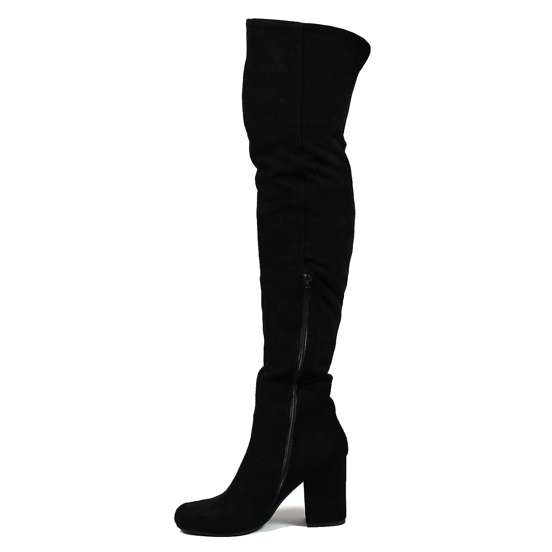 Damen Blockabsatz Oberschenkel Hohe Latschen Mode Uber Knie