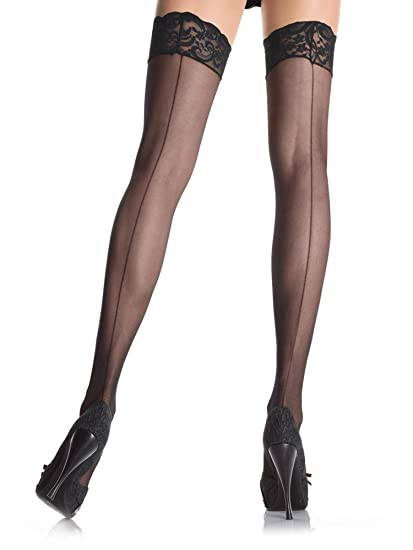 e83885b749e7e Image Unavailable. Image not available for. Color: Leg Avenue 1101Q Women's  Sheer Backseam Thigh High Stockings With Lace Top - Plus Size -