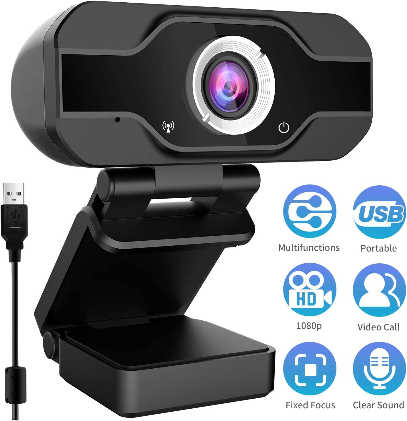 Webcam 1080P, TedGem HD Webcam USB Desktop and Laptop Webcam, Low-Light Correction and Fixed Focus Mini Plug
