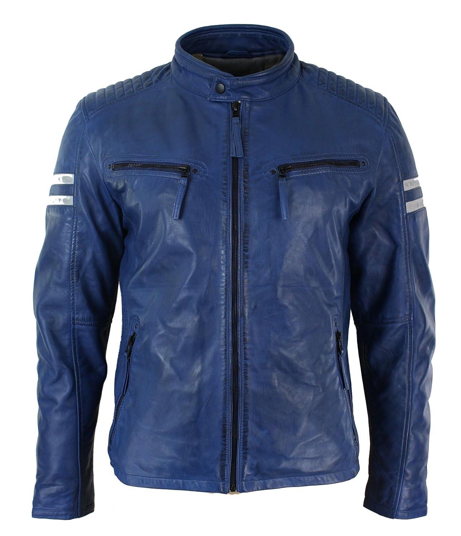 c2396b836 Aviatrix Mens Slim Fit Real Leather Biker Racing Jacket Blue White Stripes  Retro Vintage