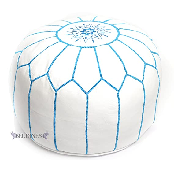 Amazon Stuffed Moroccan Ottoman WhiteTurquoise Leather Pouf Unique Turquoise Moroccan Pouf