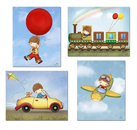Lovely Baby Boy Nursery Wall Decor Room Art Prints Pictures For Brothers Bedroom  Illustrations For Kids Childrenu0027s Artwork Set Of 4 Unframed Posters 8x10  Brown ...