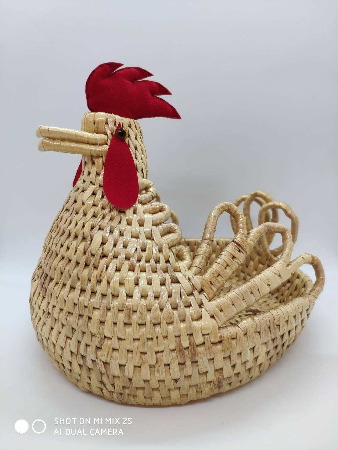 COZY LADYCRAFT Chicken Rattan Bread Fruit Basket Storage Box Home Living Room Coffee Table Fruit Plate Decoration Crafts Imitation Rattan Basket