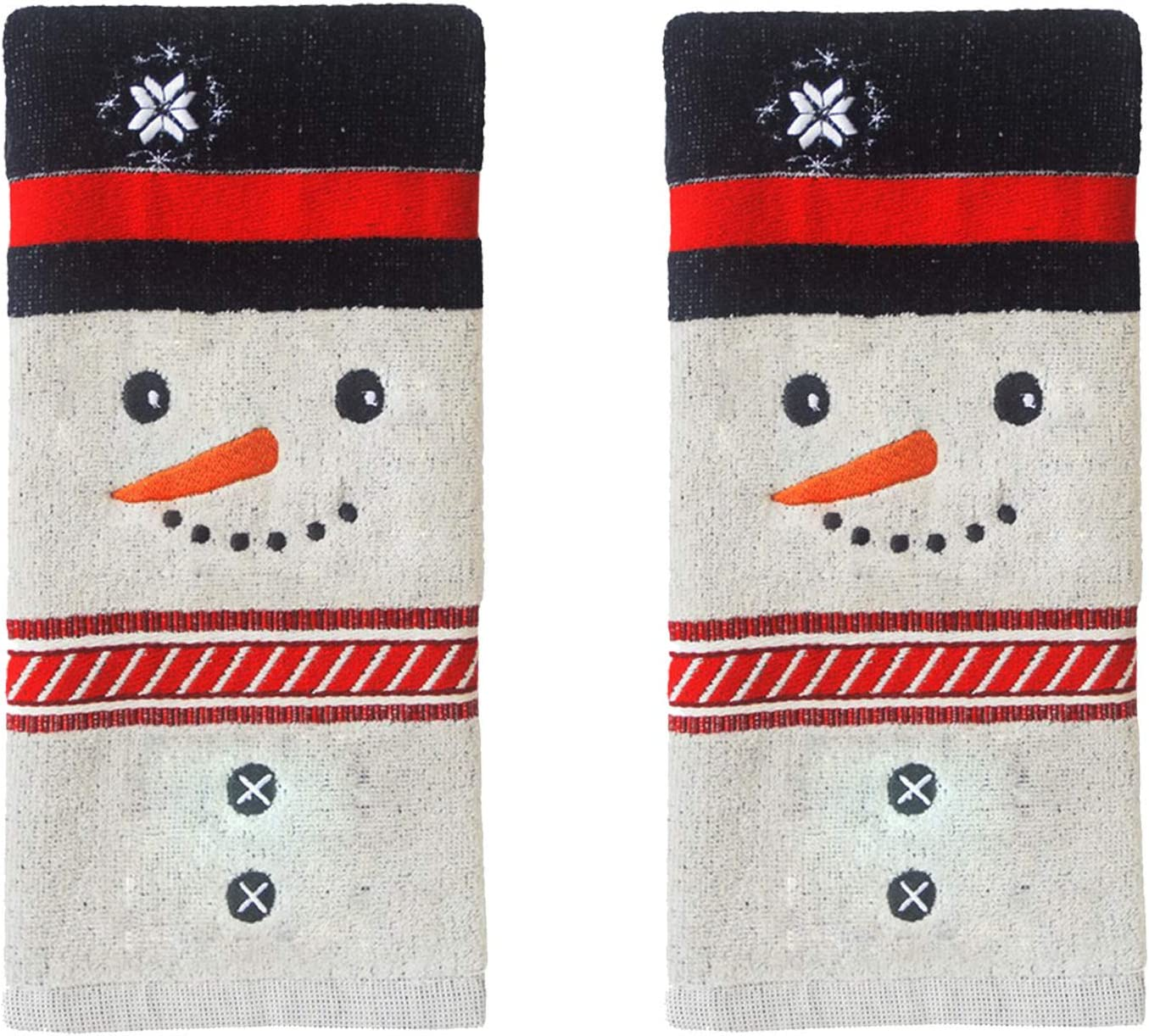 Amazon Com St Nicholas Square Christmas Towels Grey Bath Hand Towel Set Of 2 Snowman Face Decorative Design 25 X 16 Inches For Bathroom Decorating For The Holidays Home Kitchen