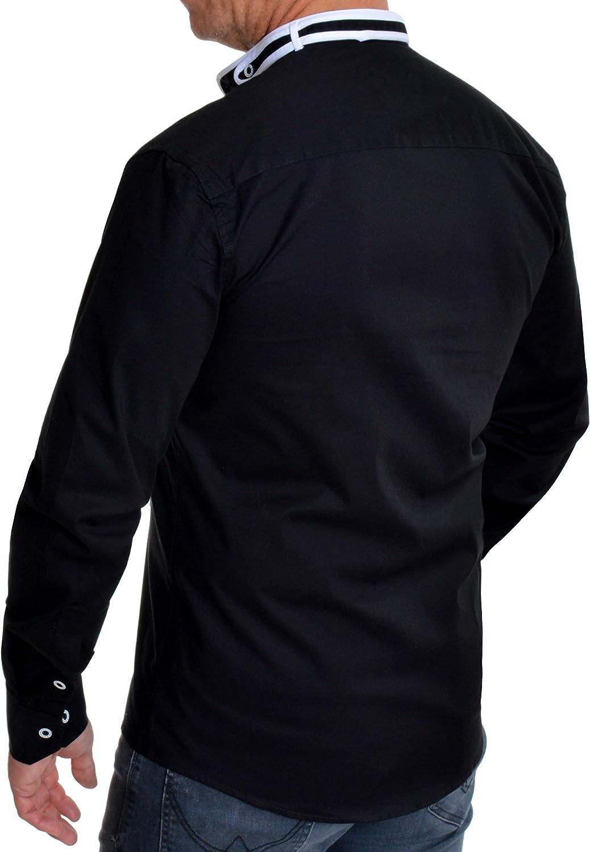 D&R Fashion Camisa de Cuello mandarín Mao para Hombre Manga Larga Algodón elástico: Amazon.es: Ropa y accesorios