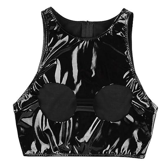 Agoky Sujetador de Cuero Negro Busto Abierto Chaleco Corto Lencería Erotica Crop Tank Tops De Charol Mujer Sexy Bustier Bralette Bikini Push PU Leather: ...