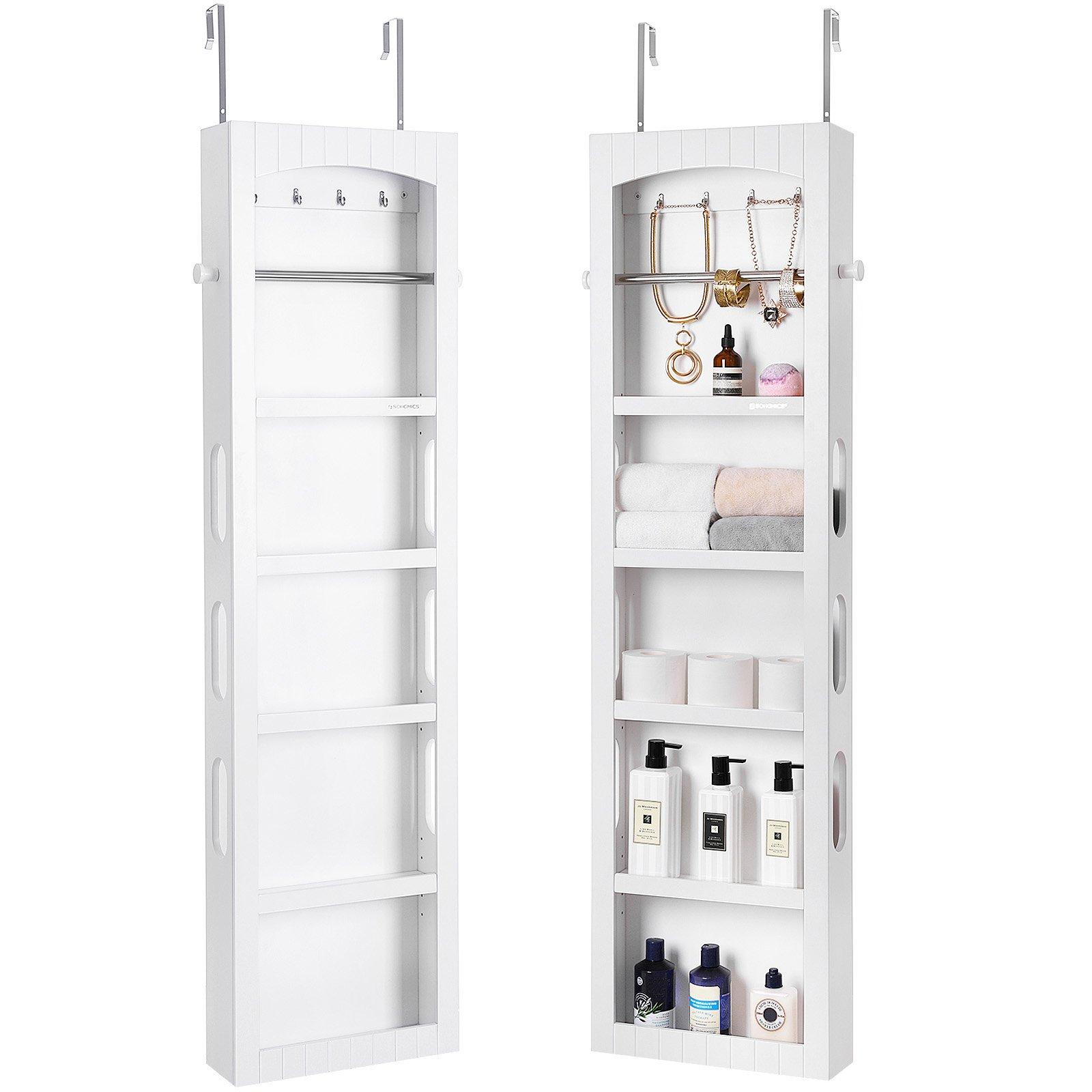 SONGMICS Bathroom Storage Cabinet, Door/Wall Mounted Save Floor Space, Adjustable Shelves White UBBC74WT